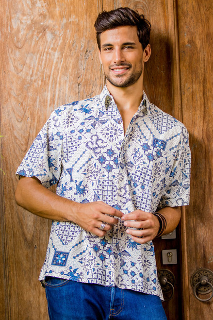 Men's Blue & White Short Sleeve Cotton Batik Button Shirt 'Island Batik'