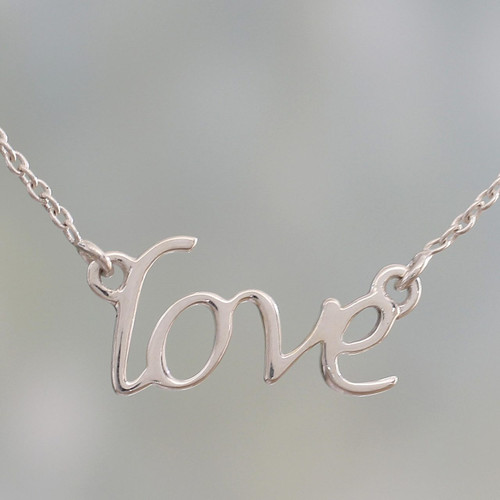 Handcrafted Sterling Silver Love Theme Pendant Necklace 'Love Note'