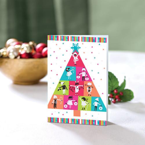 Set of 20 UNICEF Greeting Cards 'Bright Kids Tree'