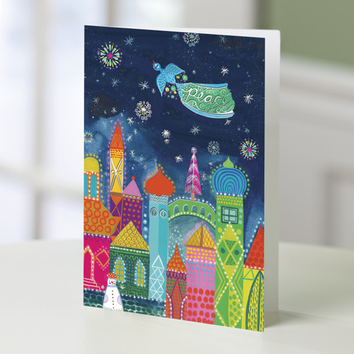 UNICEF Colorful Cityscape Holiday Greeting Cards (Set of 20) 'The Dove's Message'