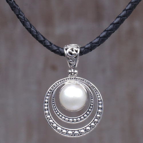 Cultured Mabe Pearl and Sterling Silver Pendant Necklace 'Crescent Gleam in White'