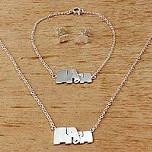 Sterling Silver Jewelry Set Elephants from Thailand 'Lovely Elephants'