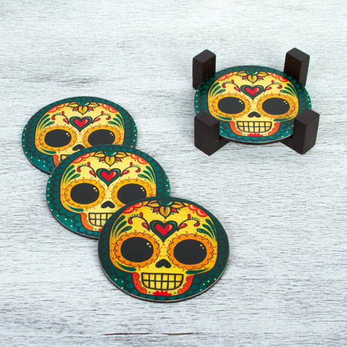 4 Day of the Dead Smiling Skulls Decoupage Wood Coaster Set 'Loving Skull'