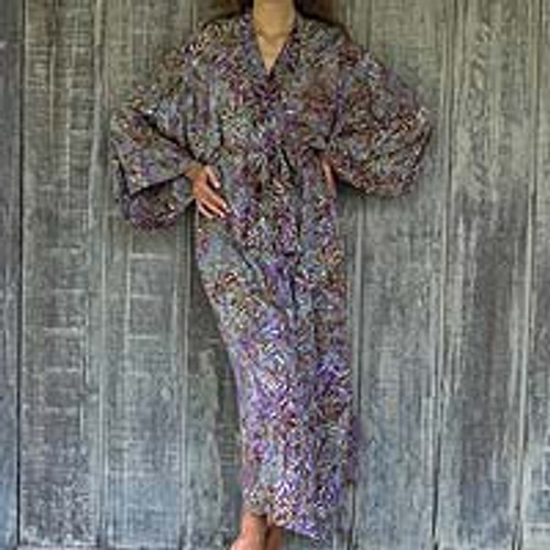 Sienna Purple Floral Batik on Rayon Long Robe from Indonesia 'Floral Mansion'