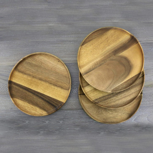 "4 Natural Wood Round 10"" Plates Hand Crafted in Thailand 'Natural Discs'"