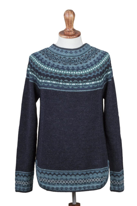 Navy Blue 100% Alpaca Pullover Patterned Peruvian Sweater 'Playful Navy Blue'