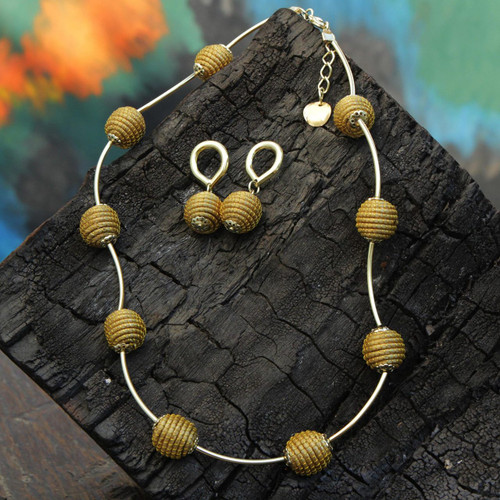 18k Gold Accent Brazilian Golden Grass Necklace and Earrings 'Golden Planets'