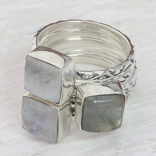 Set of 5 Rainbow Moonstone Labradorite Stacking Ring India 'Misty Squares'
