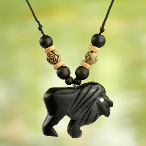 Artisan Crafted Mighty Lion Wood Pendant Necklace from Ghana 'Mighty Lion'