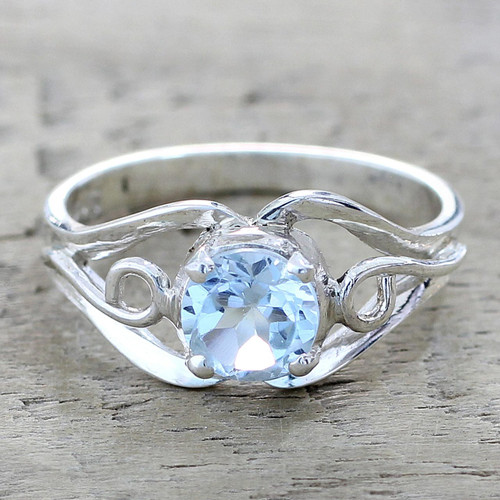 Artisan Crafted Blue Topaz Single Stone Ring from India 'Blue Winds'