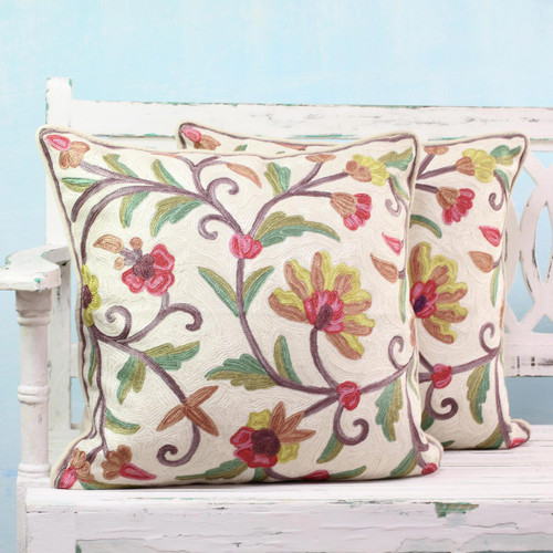 Floral Theme Embroidered Chainstitch Cushion Covers (Pair) 'Royal Indian Peony'