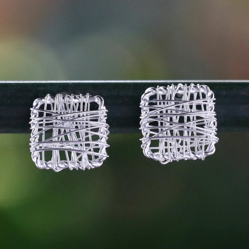Sterling Silver Wrap Square Stud Earrings Made in Thailand 'Crisscross Square'