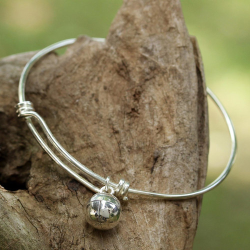925 Sterling Silver Simple Charm Bracelet from Thailand 'Lucky Bauble'