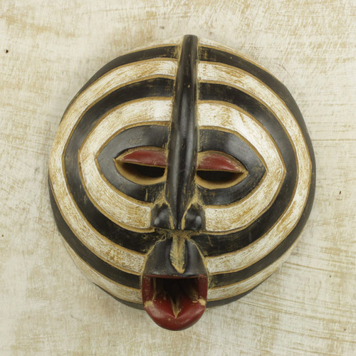 African Sese Wood Mask with Beige and Black Rings from Ghana 'Baluba Rings'