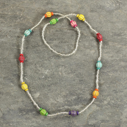 Multicolored Recycled Glass Beaded Necklace from Ghana 'Casual Colors'