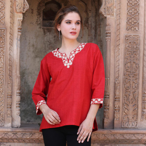 Indian 100% Cotton Tunic in Chili Red with Off White Flowers 'Chili Bouquet'