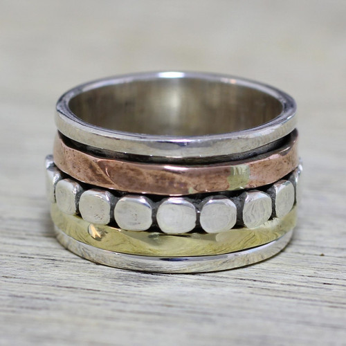 Sterling Silver Copper and Brass Spinner Ring from India 'Paved Road'