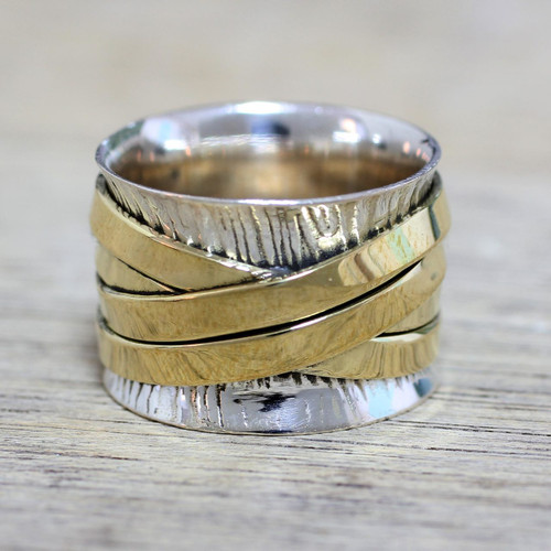 Indian Band Ring Hand Crafted of Sterling Silver and Brass 'Crisscrossing Grace'