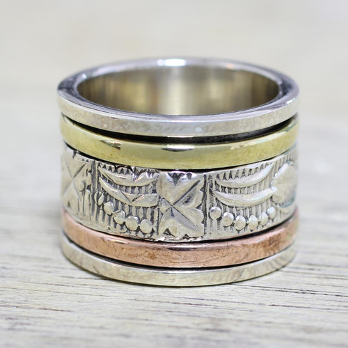 Sterling Silver Copper and Brass Indian Leaf Spinner Ring 'Entrancing Nature'
