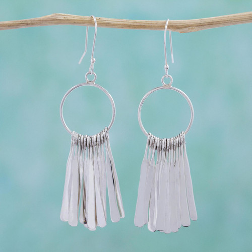 Sterling Silver Circular Dangle Earrings by Mexican Artisans 'Circular Chimes'