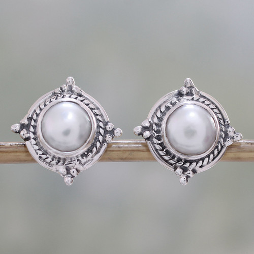 Cultured Pearl and Sterling Silver Earrings from India 'Morning Crowns'