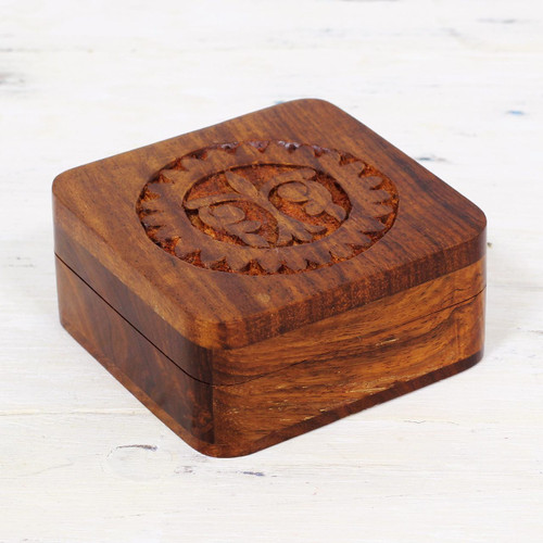Hand Carved Mango Wood Decorative Box from India 'Magnificent Sun'