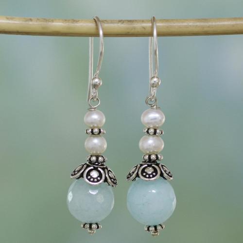Aqua Aventurine and Cultured Pearl Dangle Earrings 'Crowning Glory'