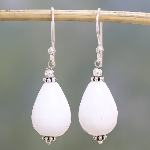 Sterling Silver and White Agate Dangle Earrings from India 'Pure Wonder'