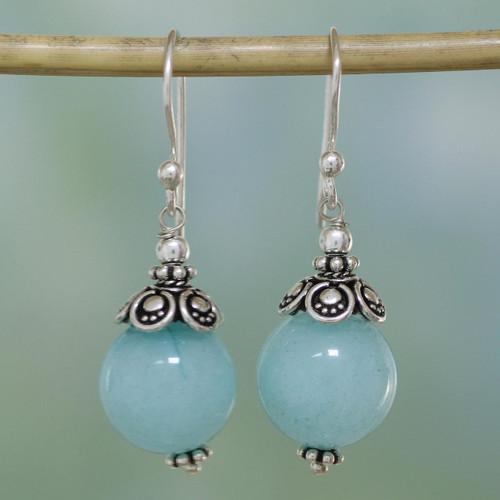 Aqua Aventurine and Sterling Silver Dangle Earrings 'Aqua Delight'