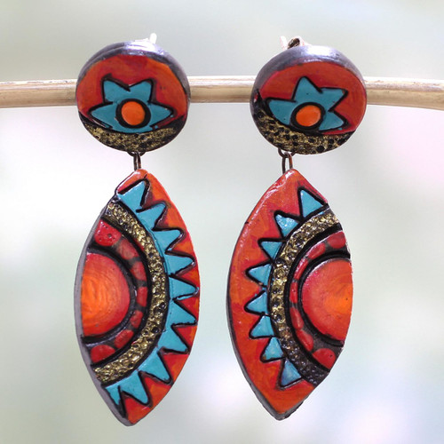 Colorful Ceramic Dangle Earrings by Indian Artisans 'Aztec Colors'