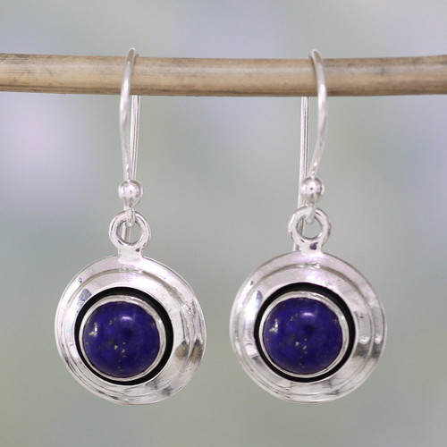 Contemporary Lapis Lazuli and Sterling Silver Earrings 'Midnight Discs'
