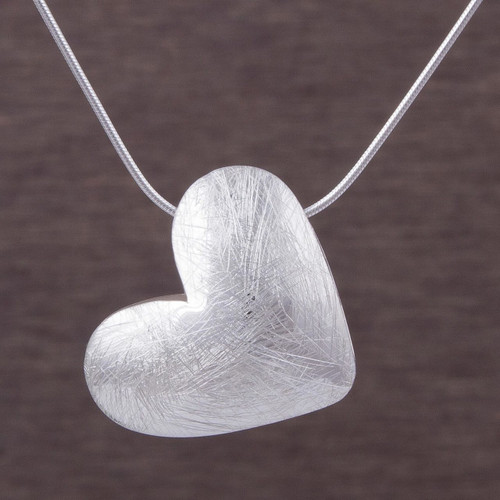 Sterling Silver 1 Inch Heart Pendant Necklace from Peru 'Kindhearted'