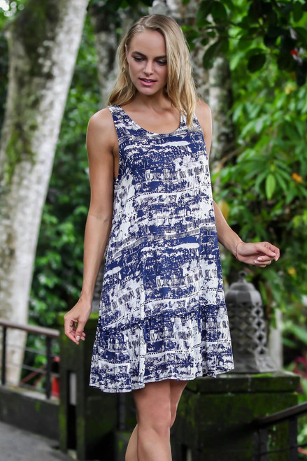 Handmade Blue and White Rayon Dress from Indonesia 'Caribbean Paradise'