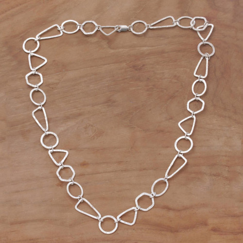 Handmade Sterling Silver Link Necklace from Indonesia 'Modern Simplicity'