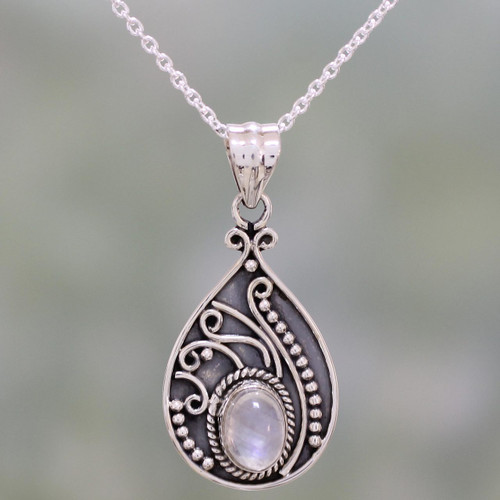 Rainbow Moonstone and Sterling Silver Pendant Necklace 'Raindrop Glow'