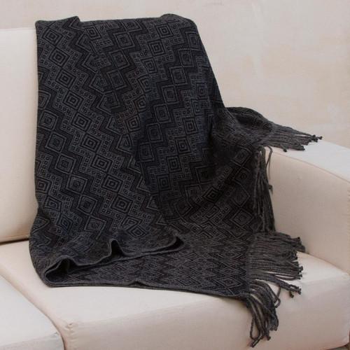 Throw Blanket with Diamond Motifs in Smoke and Black 'Smoky Black Diamonds'