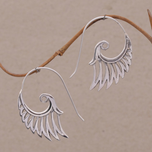 Indonesian Handmade Sterling Silver Wing Drop Earrings 'Winged Beauty'