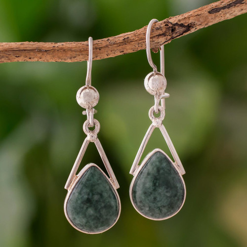 Green Jade and Sterling Silver Teardrop Earrings from Mexico 'Drops of Peace'