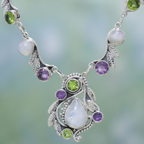 Sterling Silver and Multigem Pendant Necklace from India 'Luminous Beauty'