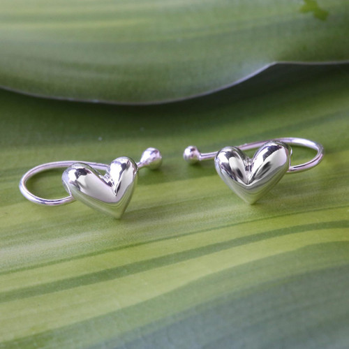 Sterling Silver Heart Ear Cuffs Artisan Crafted in Thailand 'Demure Hearts'
