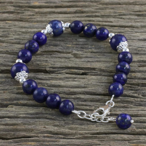 Thai Lapis Lazuli and Sterling Silver Beaded Bracelet 'Floral Deep'