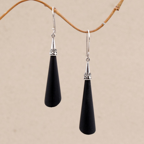 Sterling Silver and Lava Stone Dangle Earrings from Bali 'Stupa Cones'