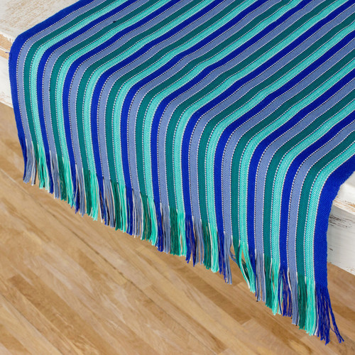 Blue and Green Striped 100% Cotton Table Runner 'Ocean Memory'