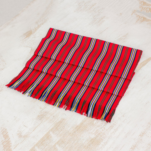 Red Striped 100% Cotton Table Runner from Guatemala 'Latin Festival'