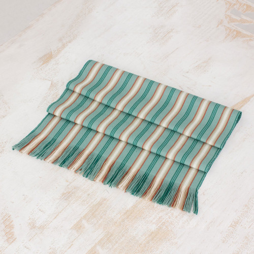 Green Striped Cotton Table Runner from Guatemala 'Forest Path'