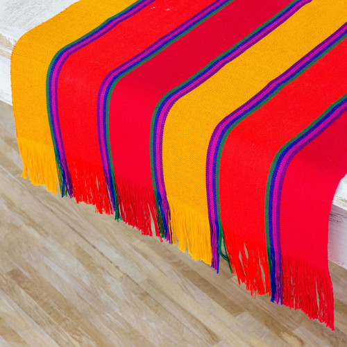 Multicolor Striped Cotton Table Runner from Guatemala 'Sunset Glory'
