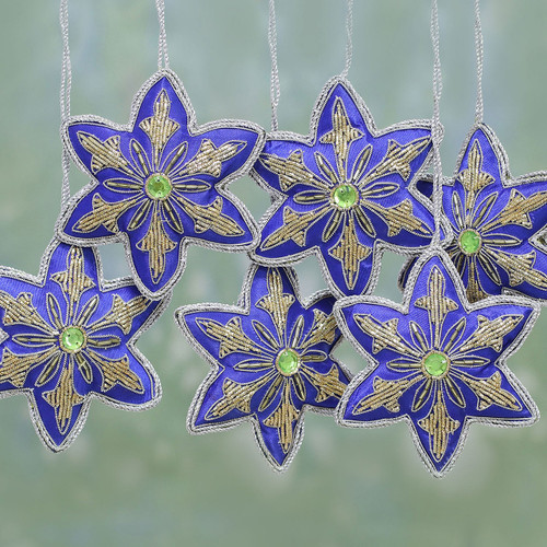 Set of Six Beaded Star Ornaments in Lapis from India 'Lapis Stars'