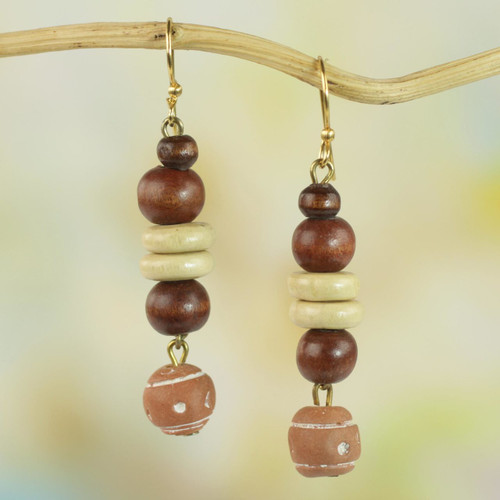 Handcrafted Sese Wood and Ceramic Earrings from Ghana 'Remembrance Beads'