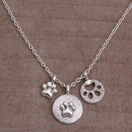 Sterling Silver Paw Print Pendant Necklace from Bali 'Paw Trio'