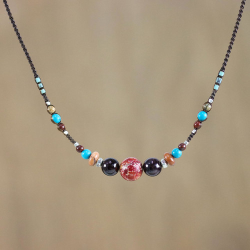 Multi-Gemstone Beaded Necklace from Thailand 'Colors of the World'